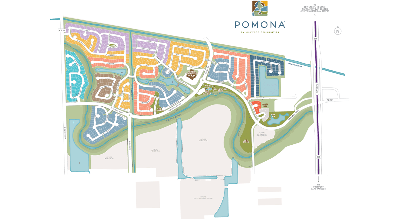 Map of Pomona, a community of new homes for sale in Mavel, TX